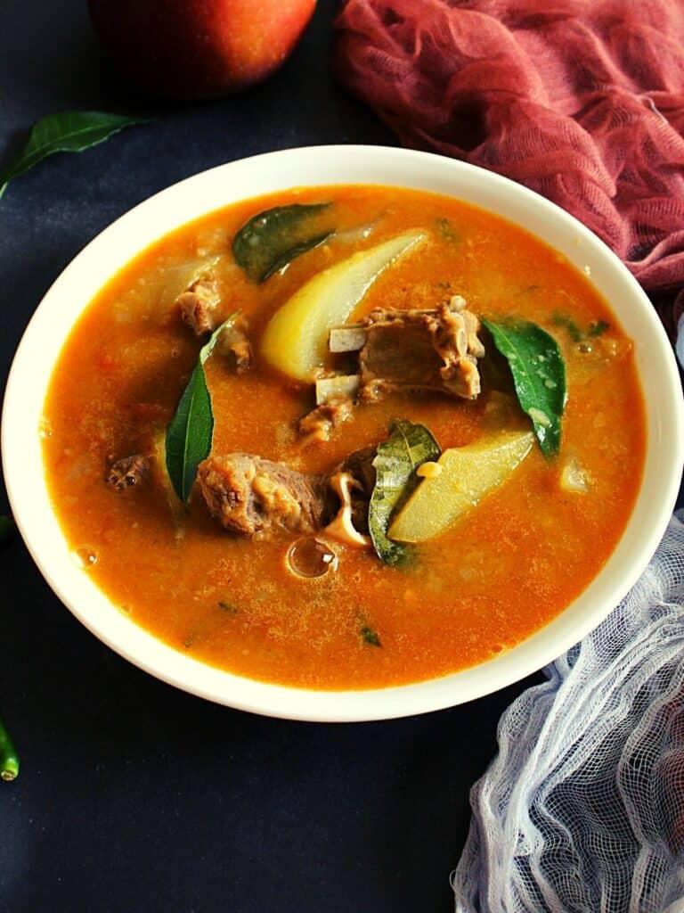dalcha recipe served in a bowl