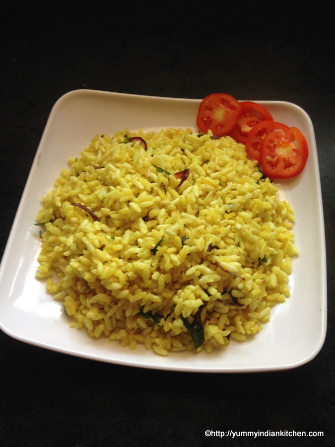 Uggani or puffed rice recipe , puffed rice upma recipe