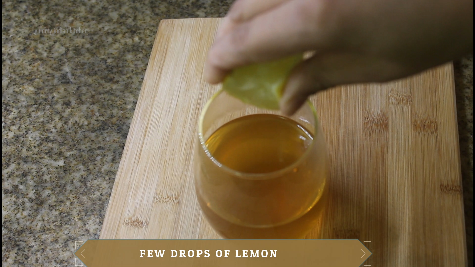 adding few lemon drops in the glass filled with drink