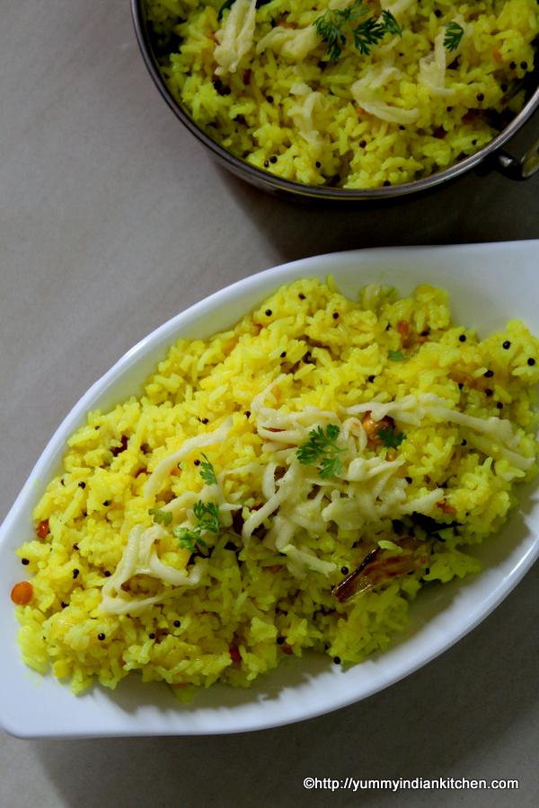 mango rice recipe or mamidikaya pulihora