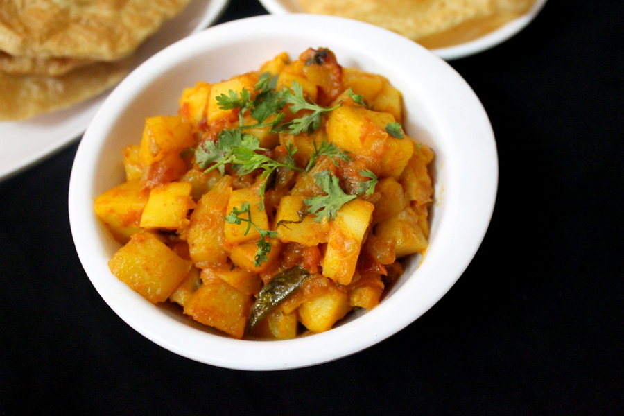 potato curry served in a bowl