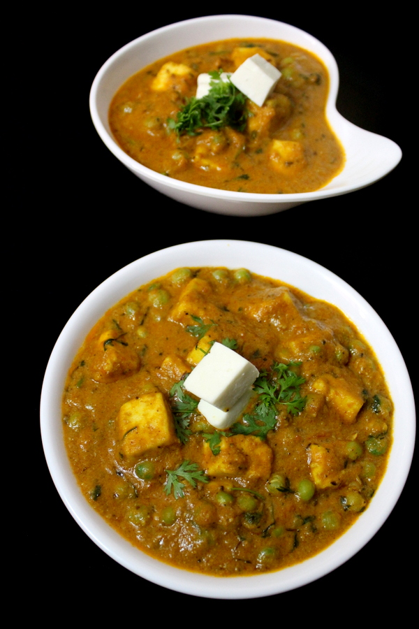 shahi matar paneer or paneer mutter masala