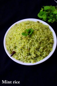 mint rice recipe or pudina rice recipe