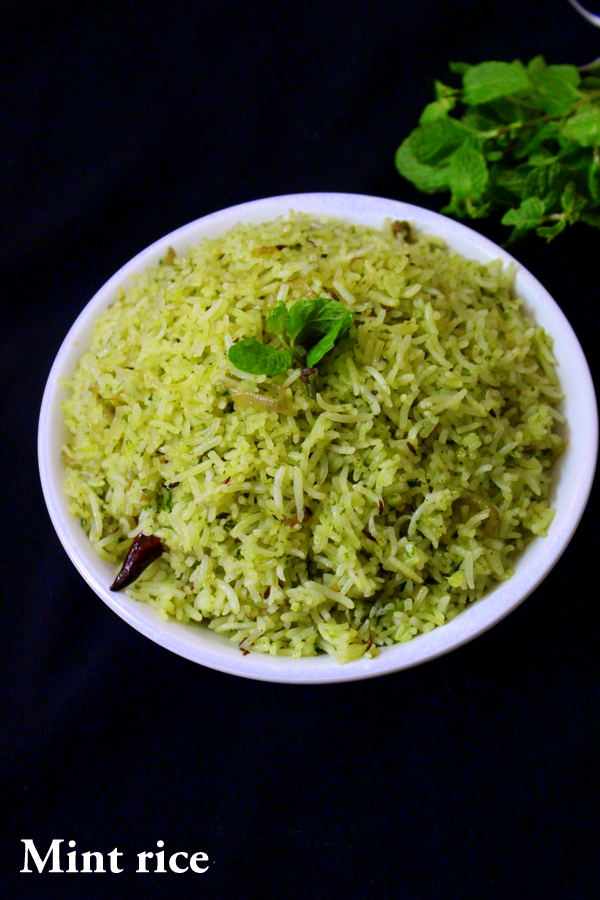 mint rice recipe or pudina rice recipe