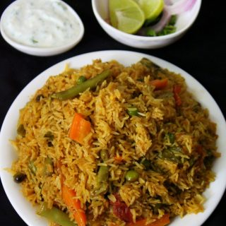 veg biryani in cooker or vegetable biryani in pressure cooker