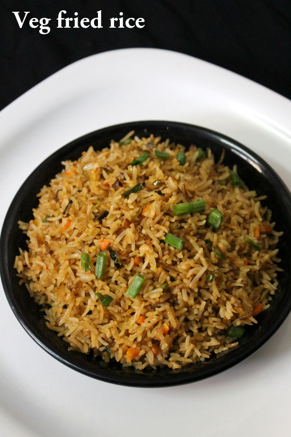 veg fried rice or vegetable fried rice recipe