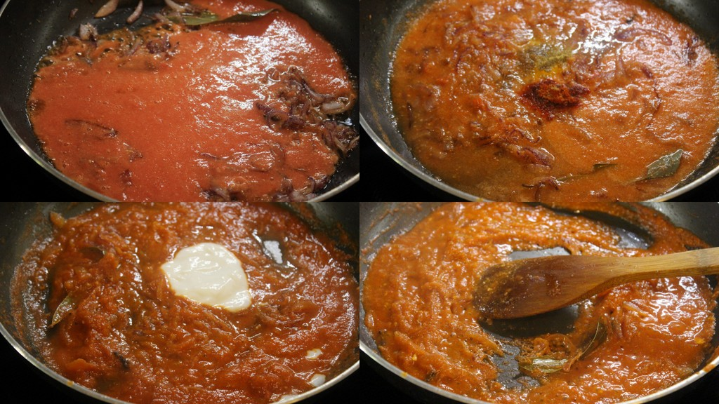 cooking the soya chunks in spices and tomato puree