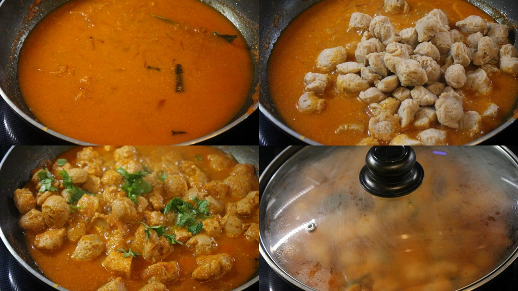 adding water and cooking the curry