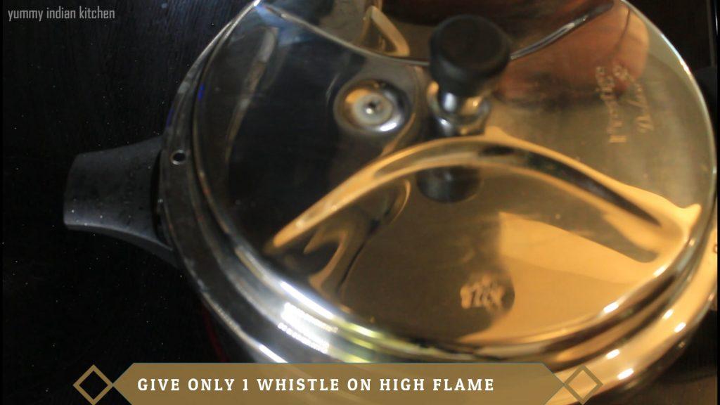 pressure cooking egg biryani for 1 whistle