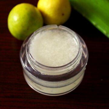 showing aloe vera gel in a bottle