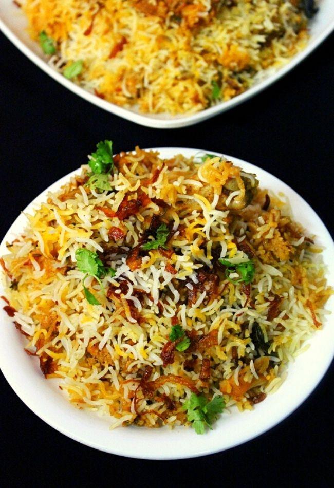 chicken biryani served on a plate