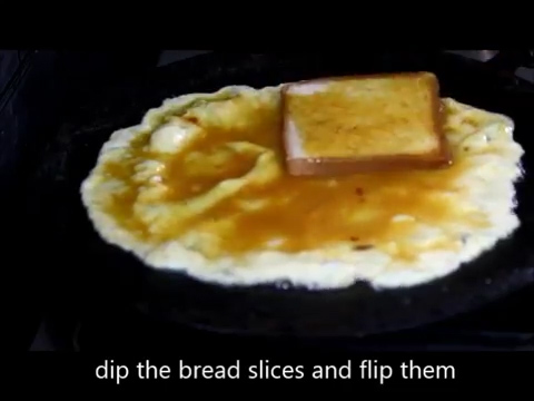 bread slice flipped and cooking