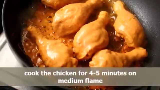 Cook the chicken legs for 4-5 minute