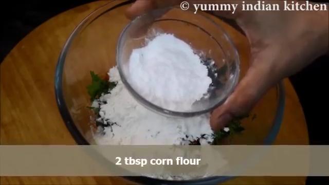 adding corn flour to the marinade