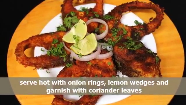 take the fried fish pieces out on plate and garnish them