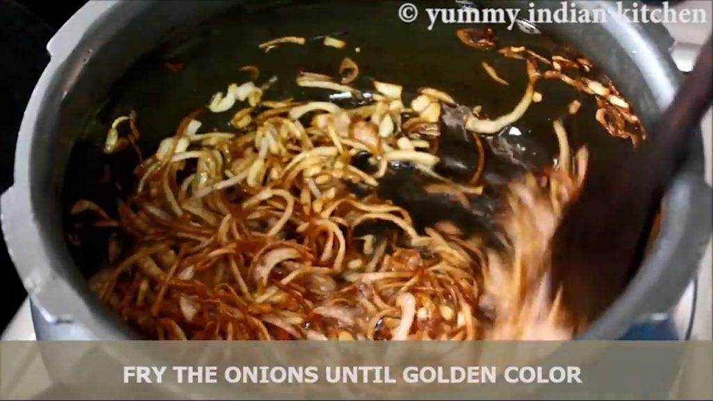 onions are stir fried until golden color