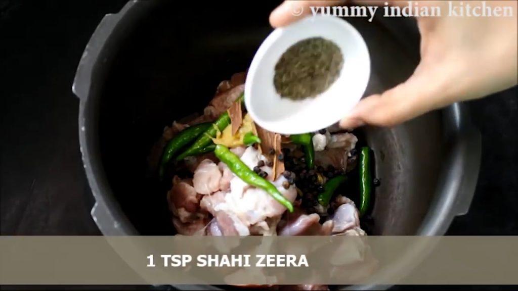 caraway seeds (shahi zeera) in cooker