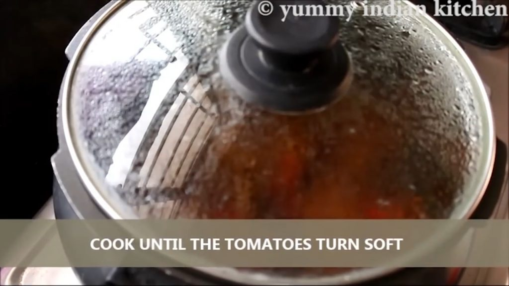 Cooking until the tomatoes turn soft