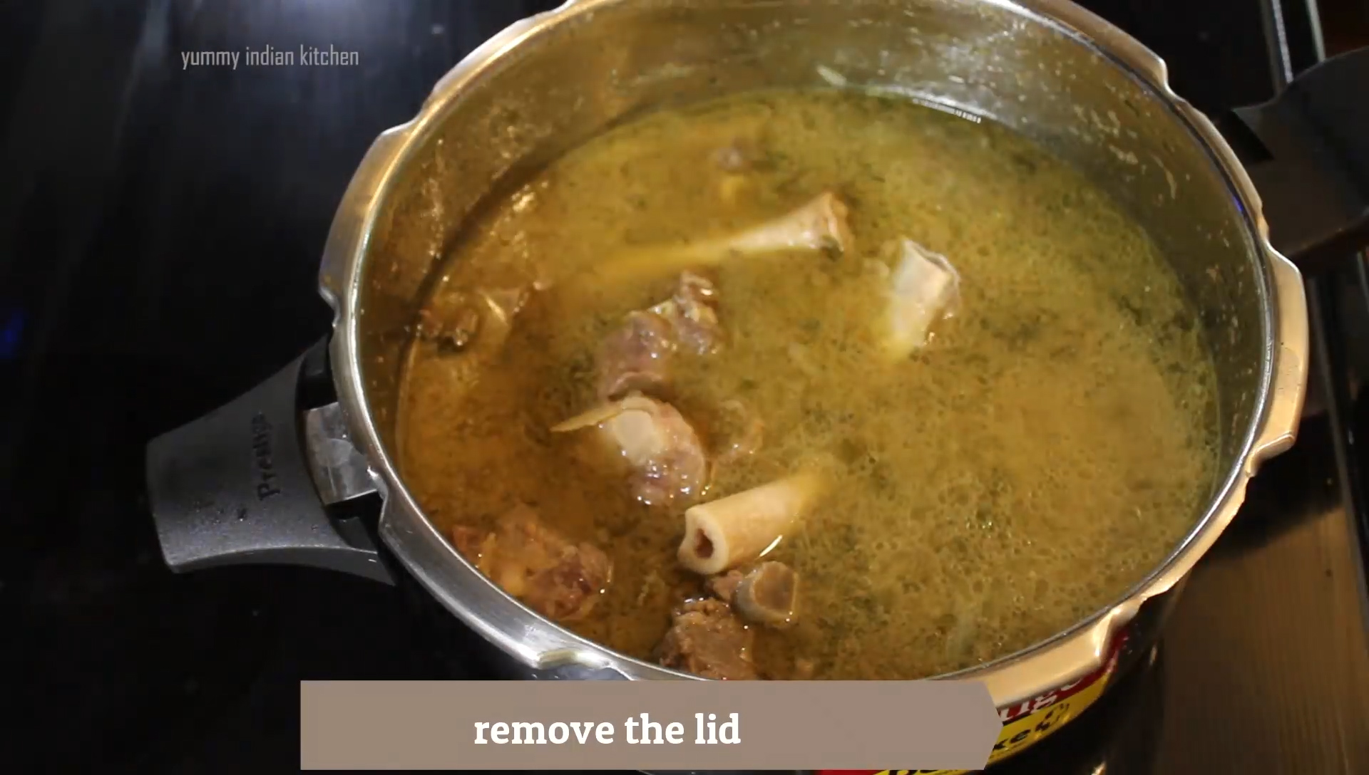 lid removed after cooking the mutton