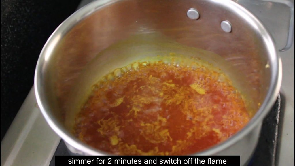 boiling all the ingredients in the pan