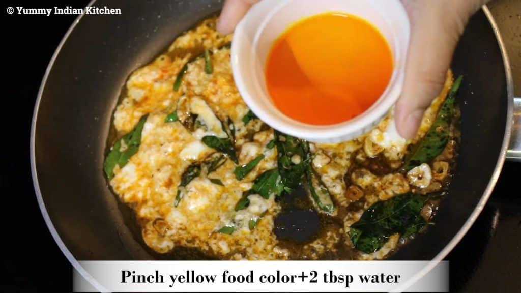 Adding yellow food color