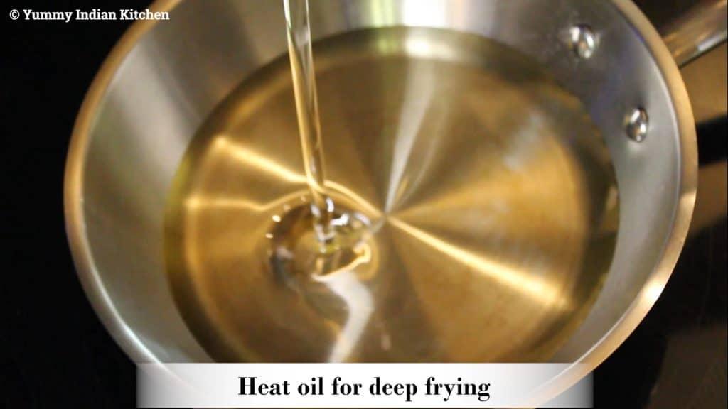 deep frying oil in a pan or a wok