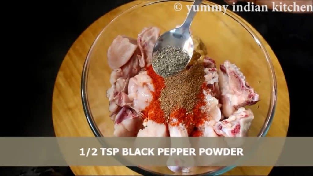 adding black pepper corn powder and dry spices