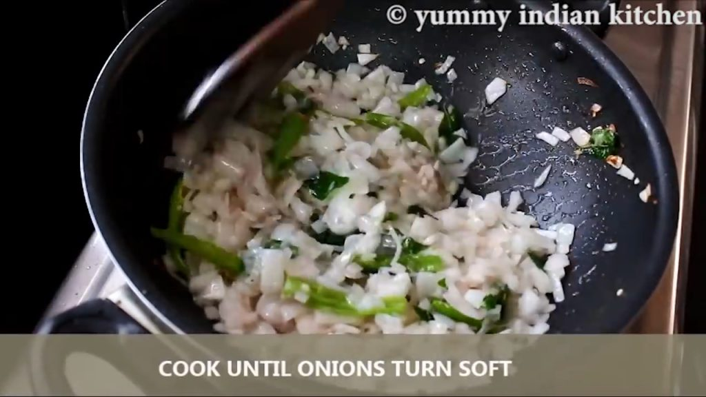 sauteing and cooking until onions turn soft