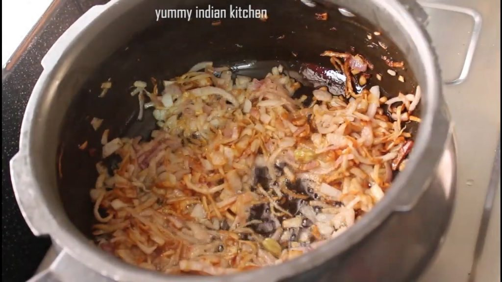 cook the onions until they turn slightly golden brown