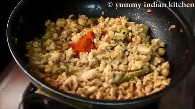 Add turmeric powder, red chilli powder