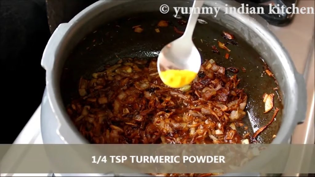 Adding turmeric powder into it and sauteing for few seconds