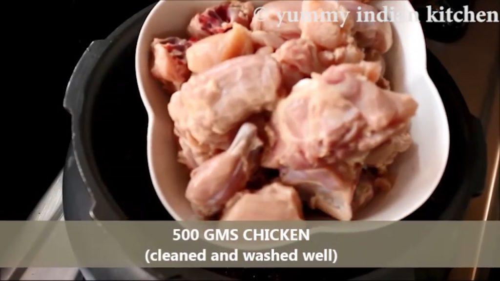 Adding the chicken pieces