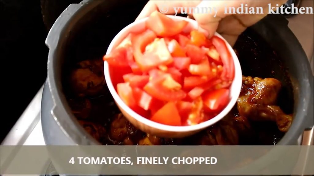 Adding the chopped tomatoes