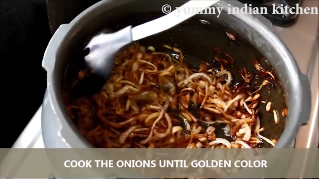cook until the onions turn into golden color