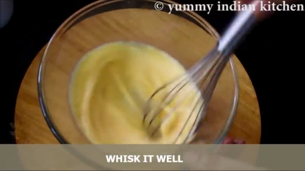 whisking the eggs well