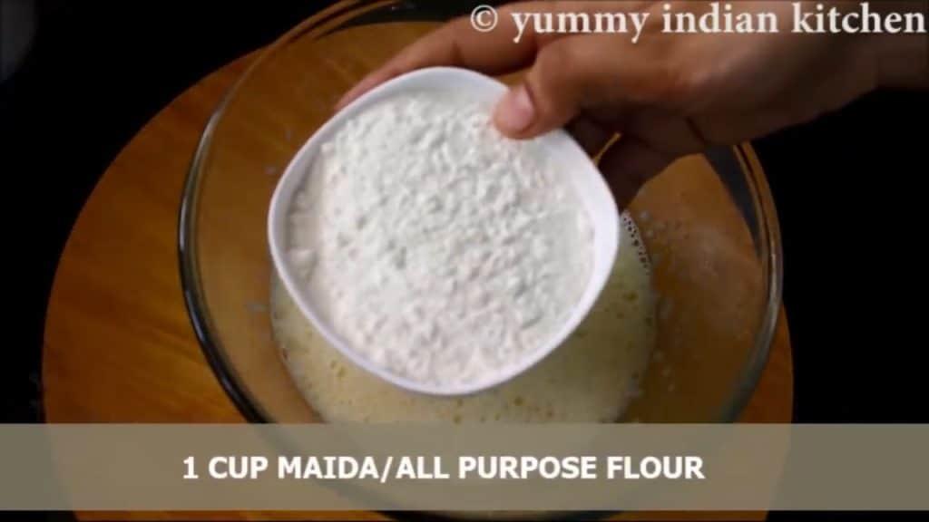 Adding all purpose flour.