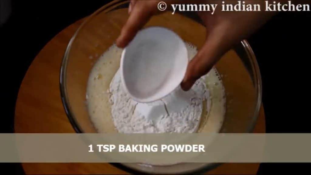 add baking powder, pinch of salt