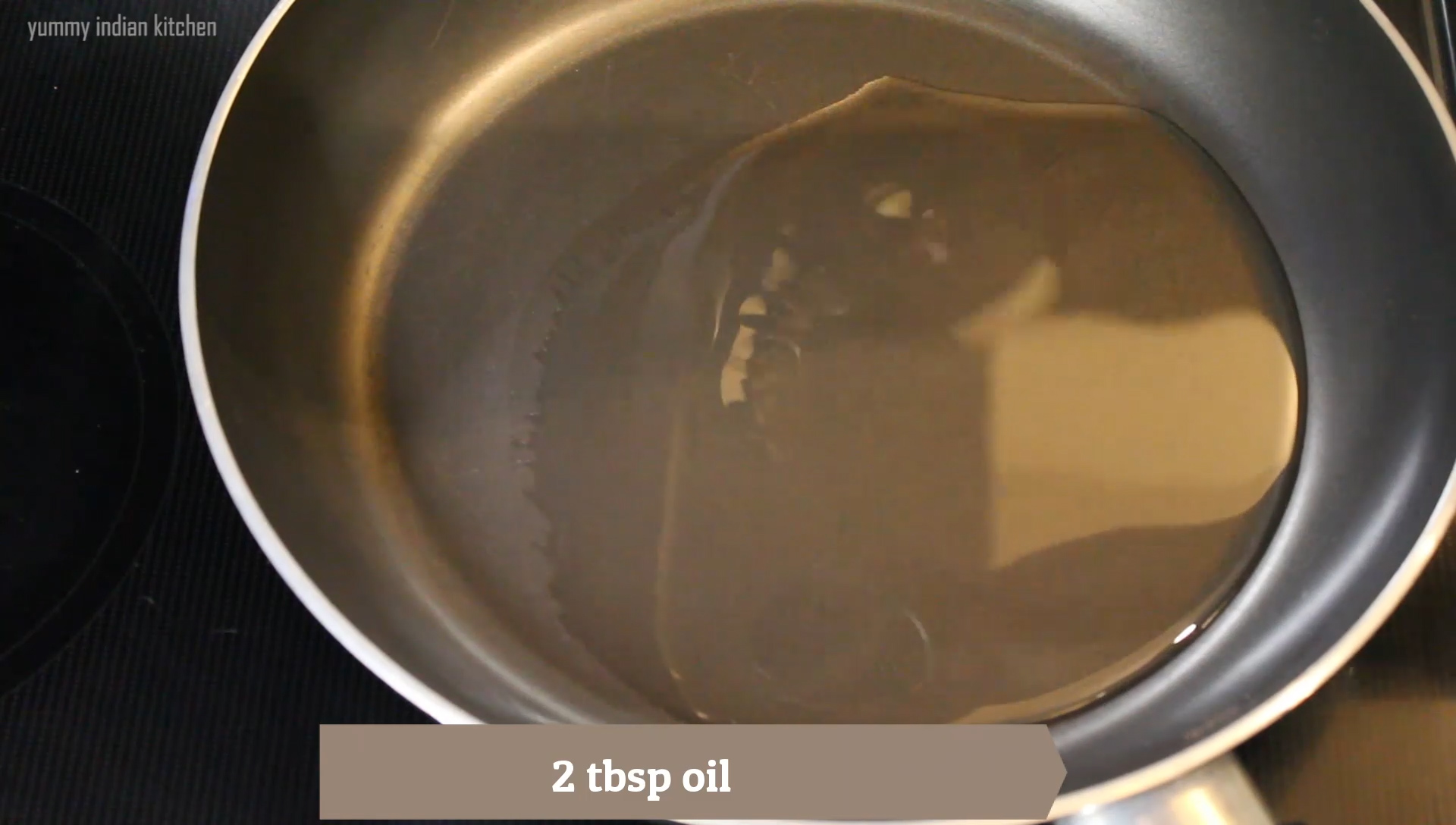 oil heating in a pan to make egg fry