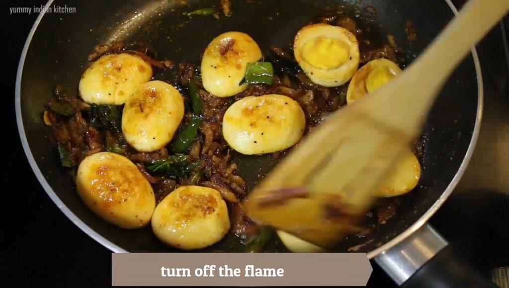 stir frying the boiled egg pepper fry