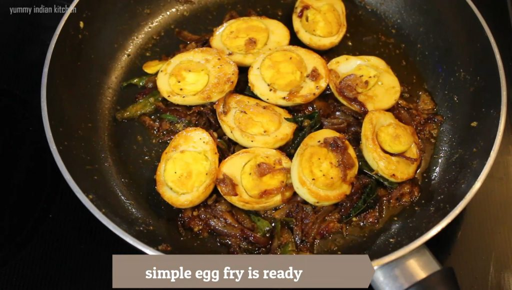 finshed step of the egg pepper fry is ready in the pan