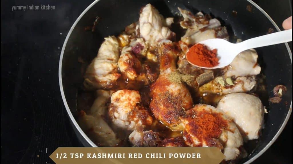 Add kashmiri red chili powder