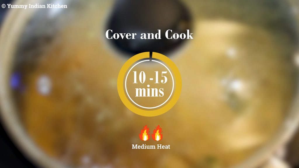 Cover and cooking the mirchi ka salan for about 10-15 minutes