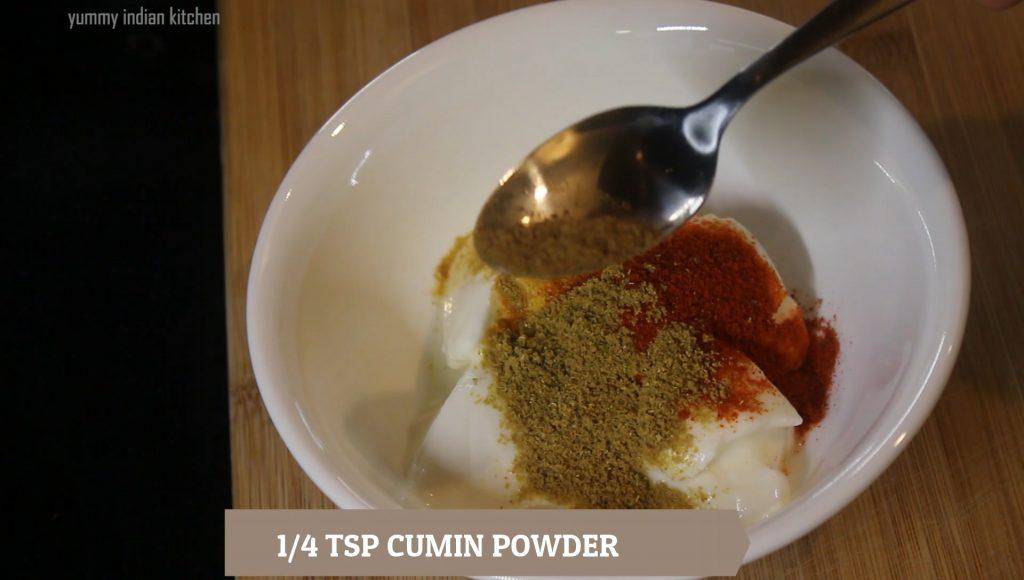 adding spices to yoghurt