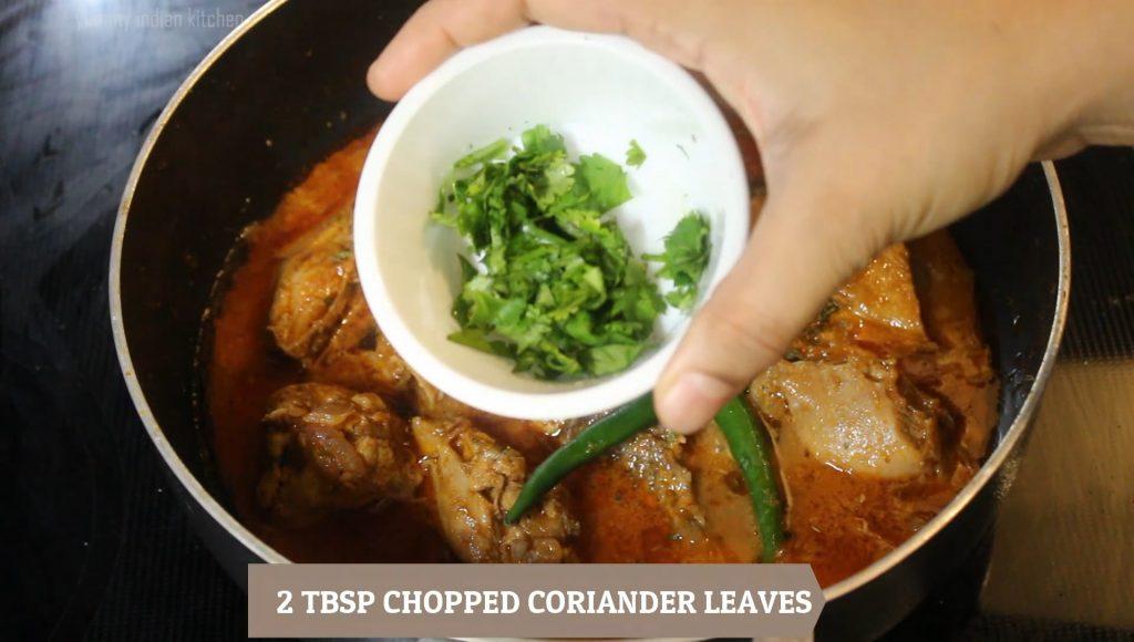 Adding slit green chilies, chopped coriander leaves, kasoori methi