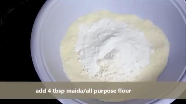 adding rice flour, all-purpose flour/maida.