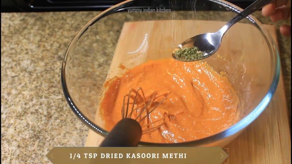 adding dried kasoori methi