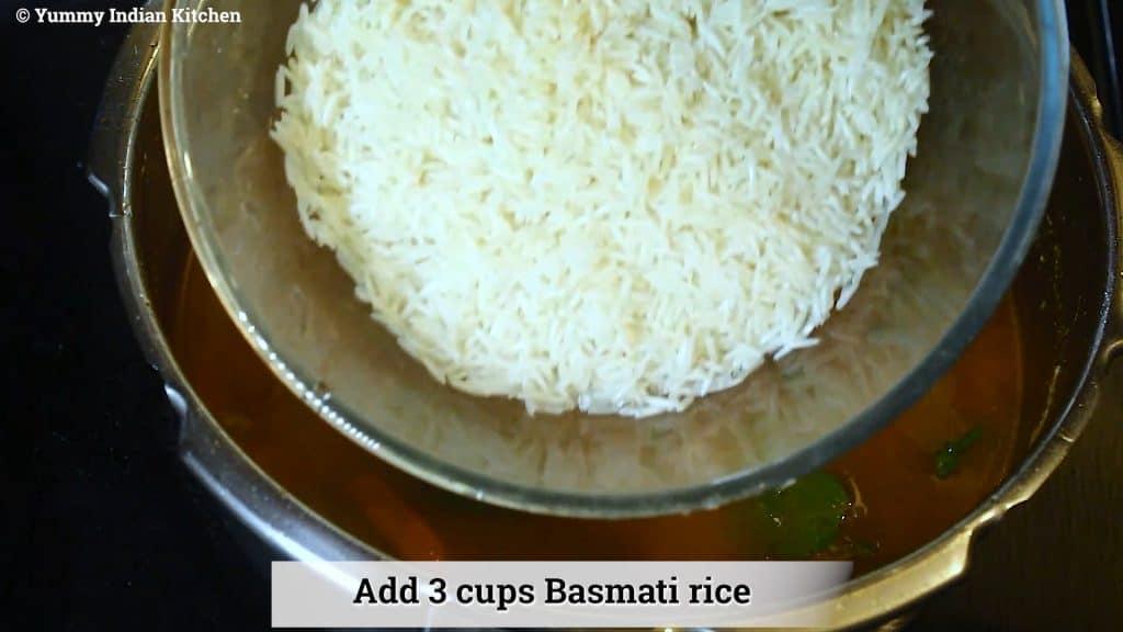 Adding soaked basmati rice