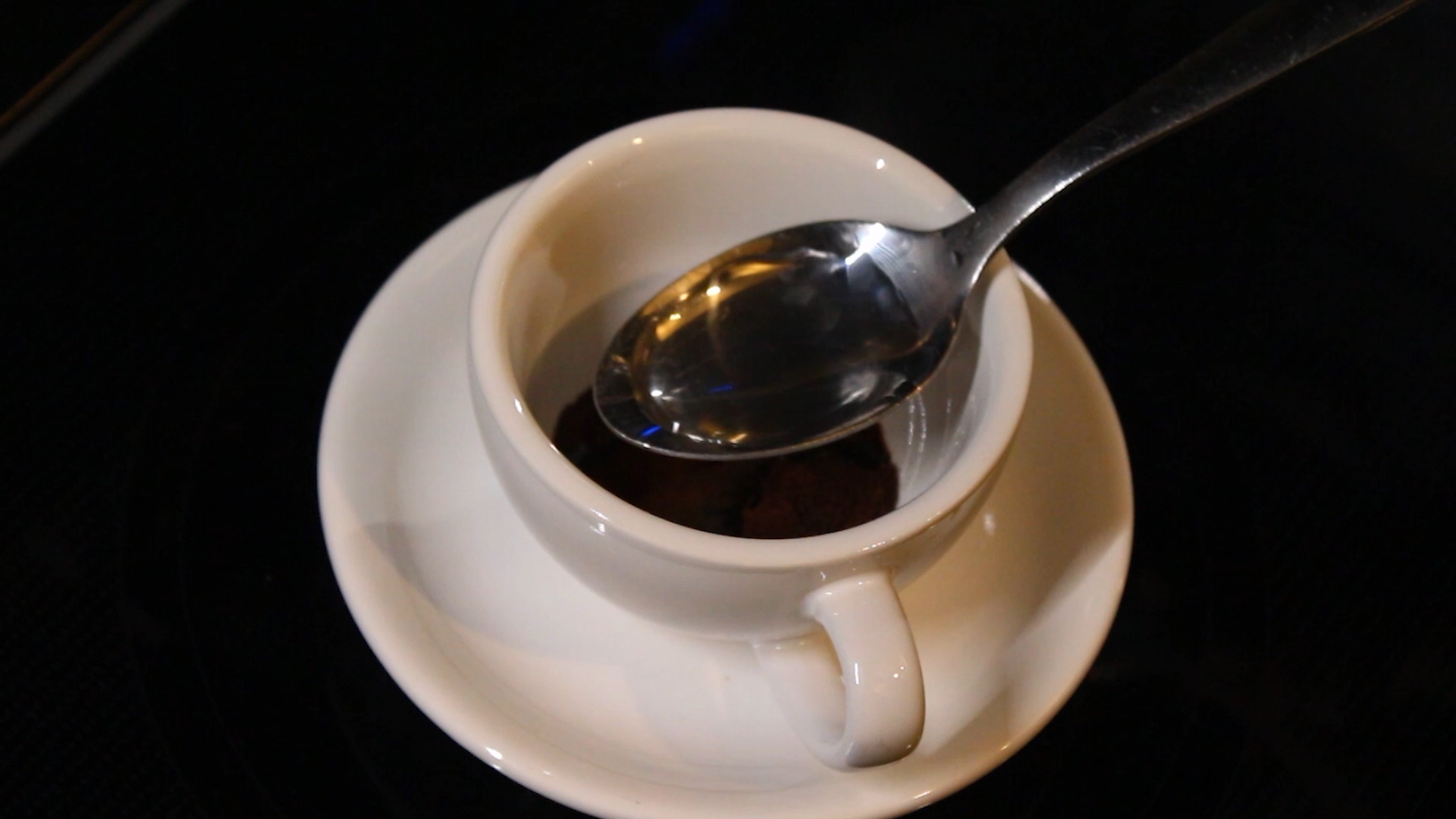 a teaspoon of warm water to pour in the cup