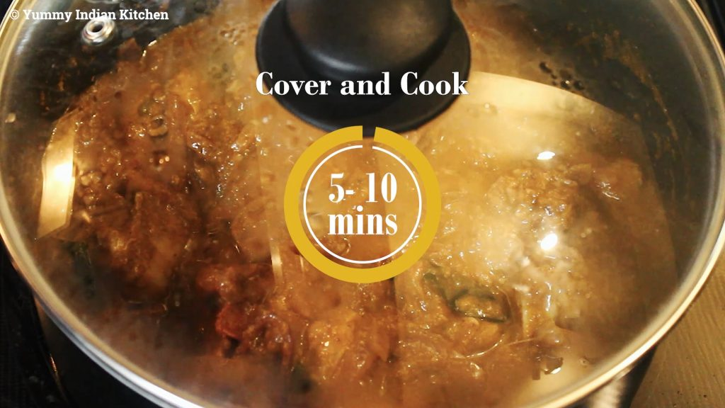 Cooking the chicken with the masala for 5-10 minutes