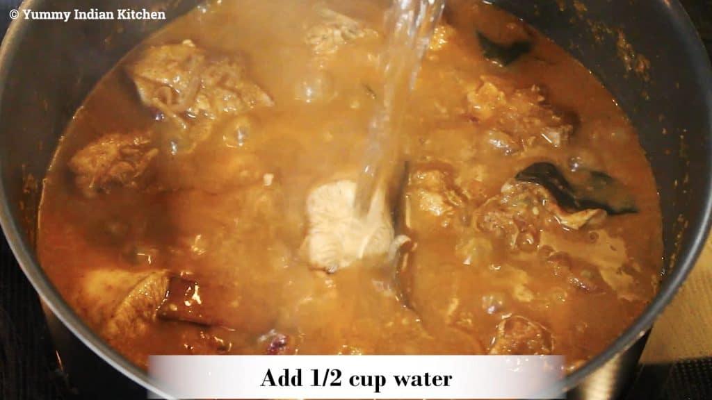 Adjusting salt as per taste, adding half a cup of water